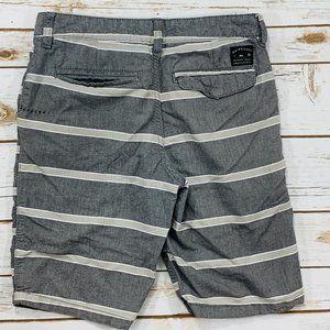Quicksilver Mens Shorts Gray Striped Flat Front 26
